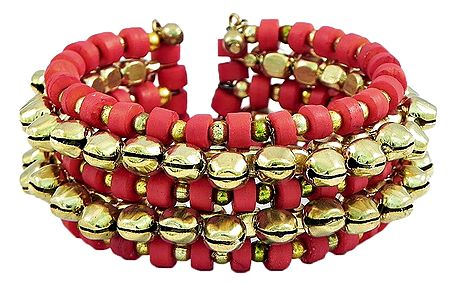 Metal Ghunghroo and Red Bead Cuff Bracelet