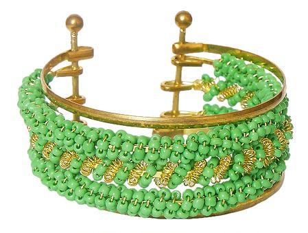 Green Beaded Cuff Bracelet