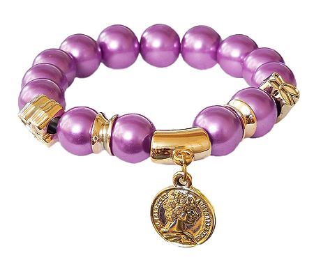 Mauve Beaded Stretch Charm Bracelet