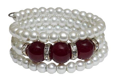 White Beaded Adjustable Bracelet