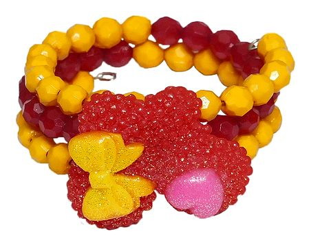 Red and Yellow Beaded Adjustable Bracelet