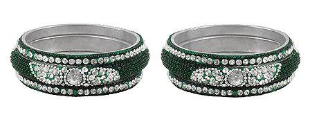 Set of 2 White Stone Studded Green Bangles