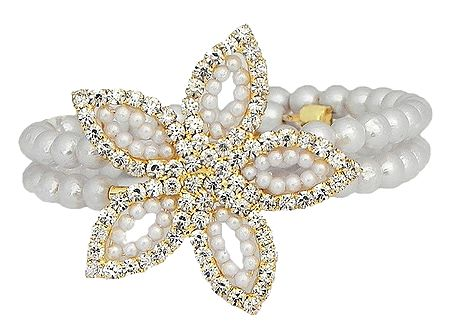 White Beaded and Stone Studded Cuff Bracelet
