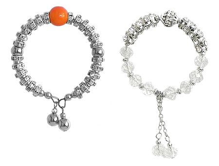 Set of 2 White Stone Studded Charm Bracelet