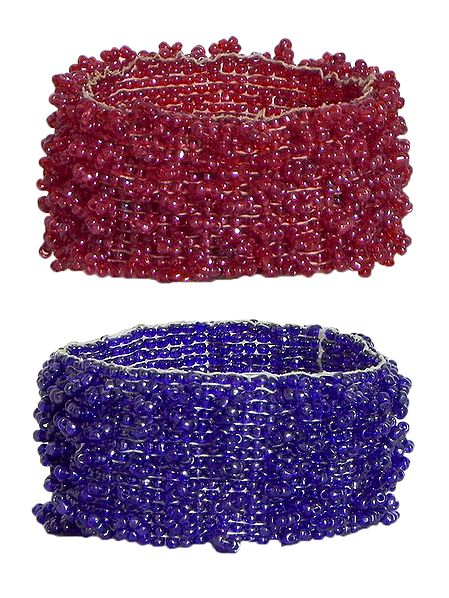 Set of 2 Red and Purple Beaded Stretch Bracelet