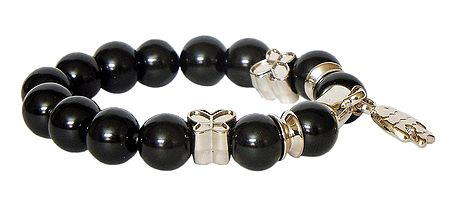 Black Beaded Stretch Charm Bracelet