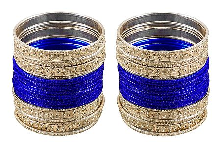 Set of 2 Blue Metal Bangles
