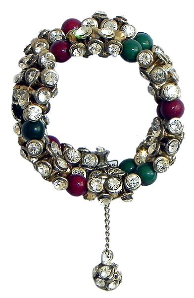 Green and Maroon Bead and White Stone Studded Spiral Bracelet