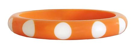 White Dot on Saffron Acrylic Bracelet