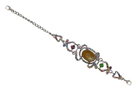 Fawn and Multicolor Stone Studded Metal Bracelet