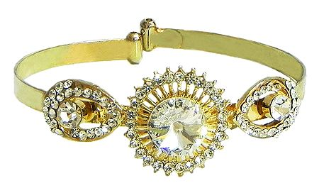 White Stone Studded Cuff Bracelet