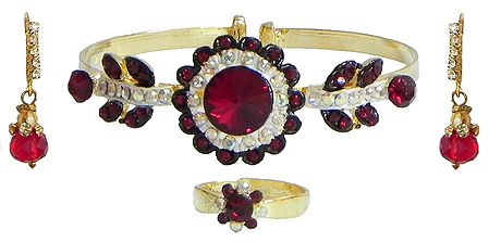 Maroon and White Stone Studded Cuff Bracelet with Earrings and Adjustable Ring