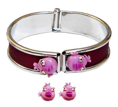 Metal Hinge Bracelet with Stud Earrings
