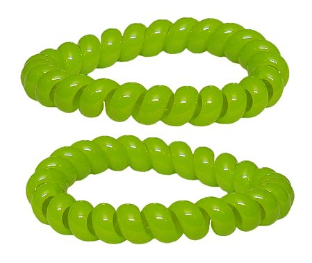 Pair of Acrylic Green Stretch Bracelet