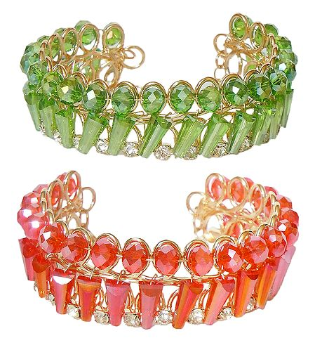 Set of 2 Green and Saffron Acrylic Crystal Bead Cuff Bracelet