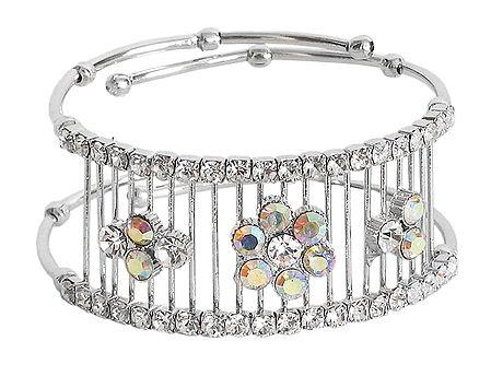 White Stone Studded Metal Cuff Bracelet