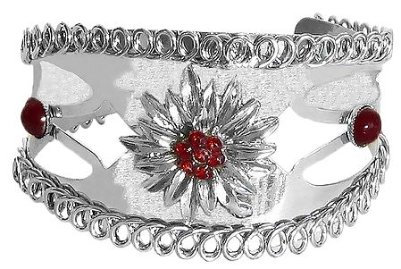 Red Stone Studded Metal Cuff Bracelet
