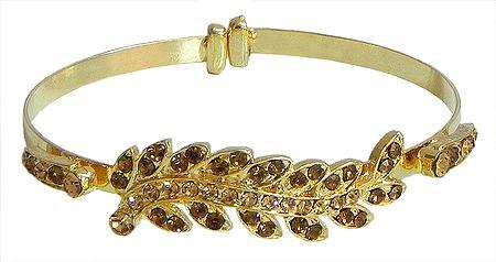 Faux Citrine Studded Metal Cuff Bracelet