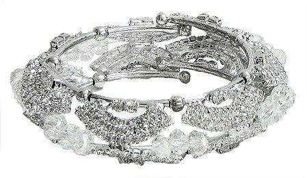 Faux Cubic Zirconia Studded Cuff Bracelet