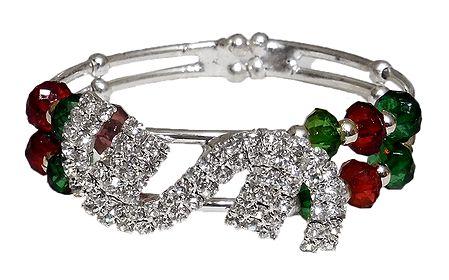 Stone Studded and Beaded Adjustable Bracelet