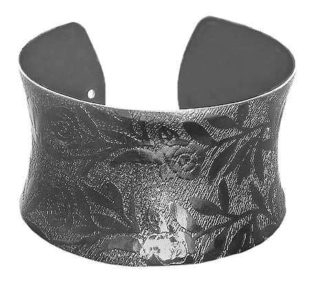 Black Carved Metal Cuff Bracelet