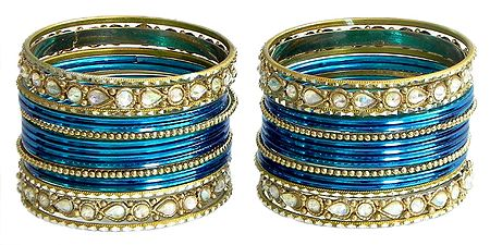Set of 2 Stone Studded Blue with Golden Bangles