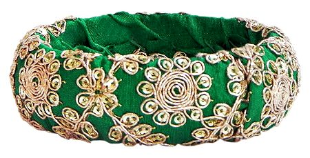 Golden Zari Design on Bracelet with Green Cloth Lining