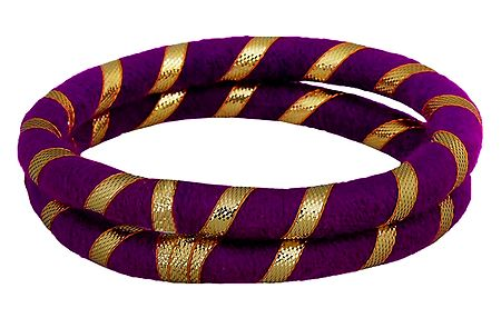 Pair of Purple Thread Bangles with Golden Ribbon