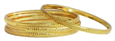 Set of Four Gold Plated Bangles