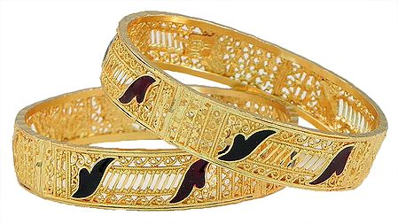 Pair of Lacquered Gold Plated Bangles