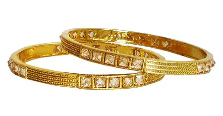 Pair of Stone Studded with Gold Plated Bangles