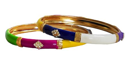 Pair of Stone Studded Laquered Metal Bangles