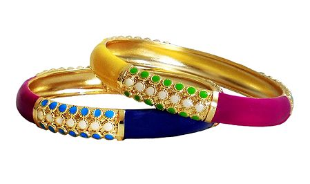 Pair of Laquered Metal Bangles