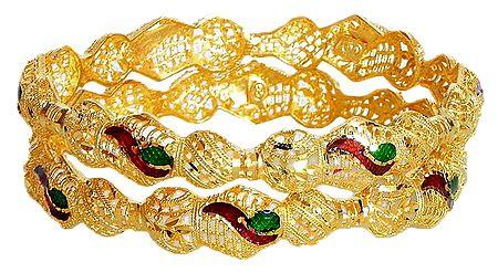 A Pair of Gold Plated Meenakari Bangles