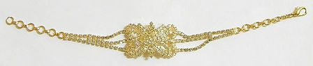 White Stone Studded and Gold Plated Tennis Bracelet