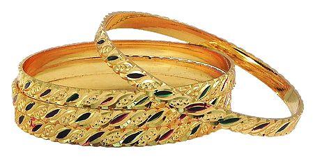 Set of 4 Meenakari Gold Plated Churi