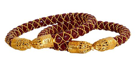Pair of Gold Plated Red Pola Bangles