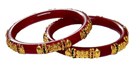 Pair of Gold Plated Red Pola