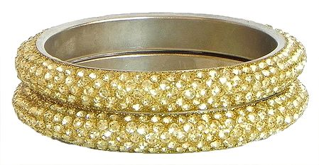 Pair of Golden Stone Studded Bangles