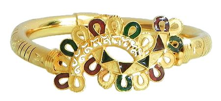 Meenakari Gold Plated Hinged Bracelet