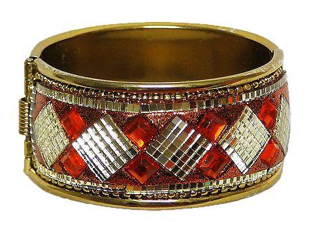 Oxidised Metal Hinged Bracelet