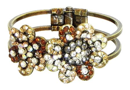Golden and Yellow Stone Studded Oxidised Metal Hinged Bracelet