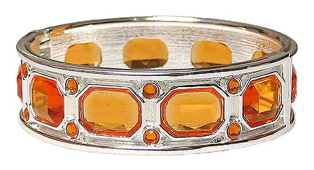 Metal with Cut Glass Hinged Bracelet