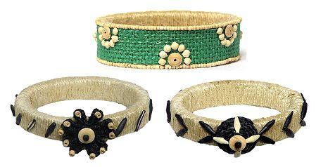 3 Jute with Wooden Bead Bracelet