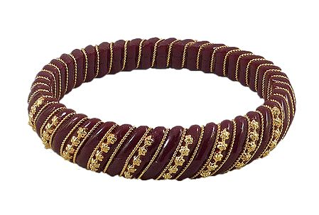 Maroon Lac Bangle with Stone