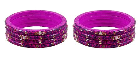 Set of 2 Stone Studded Magenta Lac Bangles