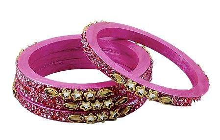 Stone Studded Pink Lac Bangles
