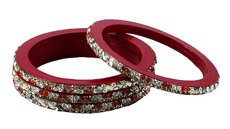 Stone Studded Red Lac Bangles