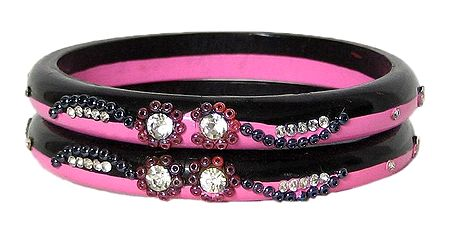 Stone Studded Pink and Maroon Bangles