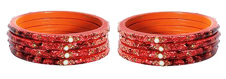 Set of 2 Saffron Lac Churis with Stone and Beads